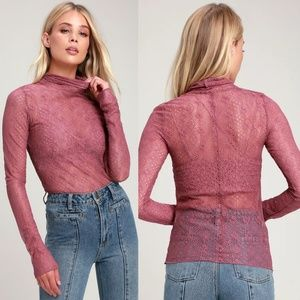NWT Free People Sweet Memories Lace Turtleneck